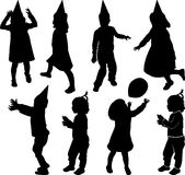 Silhouette of children. Who plays and moves Royalty Free Stock Images