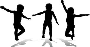 Silhouette children Stock Photos