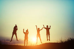 Silhouette of children jump gladness happy time. Children jump gladness happy time royalty free stock image