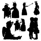 Silhouette of children masquerade, collection. Vector, silhouette of children masquerade, collection Royalty Free Stock Photography