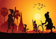 Silhouette children play game,stand the bowl or Legs tho The ash Royalty Free Stock Images