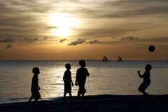 Silhouette of Children Playing 2 Royalty Free Stock Images