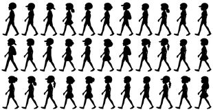 Silhouette of children walking Royalty Free Stock Photo