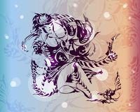 Silhouette of chimera is drawn with ink. Vector image of a fantastic amphibian woman. The mutant is depicted in a seated pose. Silhouette of a chimera is drawn royalty free illustration