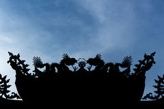Silhouette of china roof on sky background Stock Images