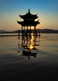 Silhouette of Chinese gloriette. Silhouette of  Chinese gloriette in Hangzhou China Royalty Free Stock Photo