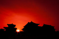 Silhouette of Chinese Pagoda Stock Images