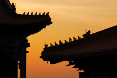 Silhouette chinese temple Royalty Free Stock Images