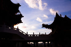 Silhouette of Chinese temple. In afternoon light Stock Photography