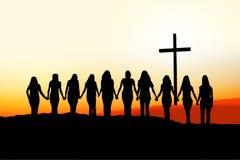 Silhouette chrétienne d'amitié de femmes Photographie stock