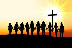 Silhouette chrétienne d'amitié de femmes Photo libre de droits