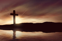 Silhouette of christian cross Royalty Free Stock Image