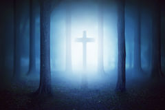 Silhouette of christian cross with moonlight Royalty Free Stock Photo