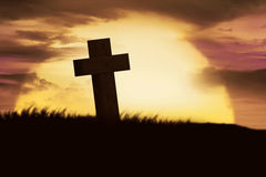 Silhouette of christian cross royalty free stock images