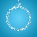 Silhouette Christmas ball filled with snowflakes Stock Photos