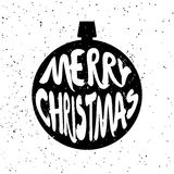 Silhouette of Christmas ball with lettering text Merry Christmas on white background with splashes. Stock Image