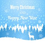 Silhouette of Christmas deer on winter forest background Stock Photo