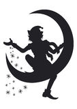Silhouette of Christmas Elf scattering snowflakes. Illustration Christmas Elf silhouette. He is sitting on a half moon and scattering snowflakes around Royalty Free Stock Photo