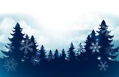 Silhouette Christmas Trees Snow Scene Background stock photo