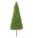 Silhouette of Christmas fir tree made of pine needles on a white background. Top view stock photo