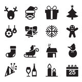 Silhouette Christmas icons set Stock Image