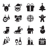 Silhouette Christmas icons set Royalty Free Stock Photos