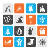 Silhouette Christmas and new year icons Royalty Free Stock Photo