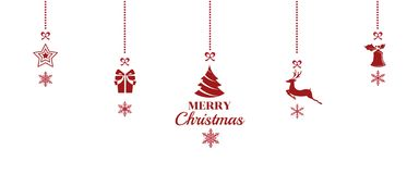Silhouette. Christmas ornaments hanging red  background. Vector Illustration Stock Photos