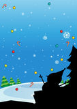 Silhouette of Christmas with snowman Stock Photo