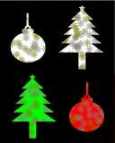 Silhouette christmas tree and christmas ball illustration Royalty Free Stock Photo