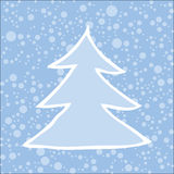 Silhouette of Christmas tree with falling snow. Royalty Free Stock Images