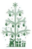 Silhouette Christmas tree. The silhouette of the Christmas tree. Festively decorated Christmas tree. monochrome silhouette on izolirovannom background Stock Photo