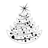 Silhouette Christmas tree vector Royalty Free Stock Images