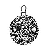 Silhouette christmas wreath of glass with star decorations. Illustration stock illustration