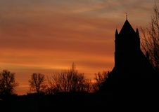 Silhouette of a church. With beautiful sunset sky Royalty Free Stock Photography