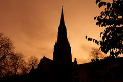 Silhouette of church dome in Berlin backlit Royalty Free Stock Images