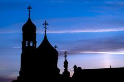 Silhouette of the Church with domes in the early morning stock photo