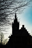 Silhouette of Church of the Holy Family royalty free stock images