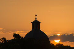 Silhouette of a church steeple. Stock Photography