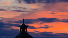 Silhouette of Church steeple in dusk Royalty Free Stock Photography