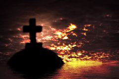 Silhouette of a church in the sunset time Royalty Free Stock Photos