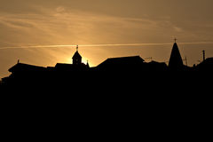 Silhouette of church towers Stock Photo