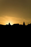 Silhouette of church towers Royalty Free Stock Photo