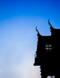 Silhouette of church at wat Phra that chueng chum Royalty Free Stock Image