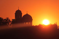 Silhouette of churches on a red sky Royalty Free Stock Images