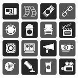 Silhouette Cinema and Movie. Vector icon set Stock Image