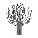 silhouette circuit board tree background Royalty Free Stock Images