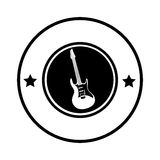 Silhouette circular border with electric guitar musical Stock Image