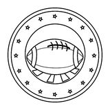 Silhouette circular border with football ball and decorative stars Stock Photography