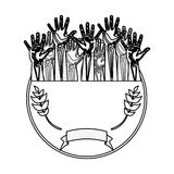 Silhouette circular border with olive branch and multiple hands up Royalty Free Stock Image